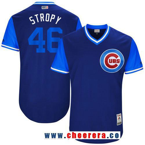 Men's Chicago Cubs Pedro Strop -Stropy- Majestic Royal 2017 Little League World Series Players Weekend Stitched Nickname Jersey