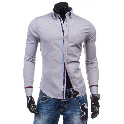 Pánska formálna košeľa s dlhým rukávom sivej farby - fashionday.eu