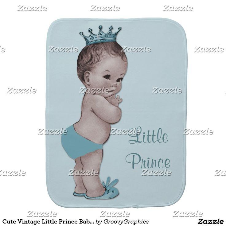 Cute Vintage Little Prince Baby Blue Baby Burp Cloth