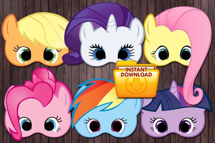 6 My little pony printable masks Birthday Party - Custom DIY by PartyDesignsDIY on Etsy https://www.etsy.com/listing/191296792/6-my-little-pony-printable-masks