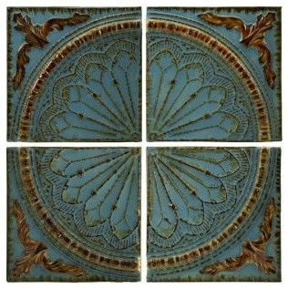 Blue Quarter Medallion Set of 4 Wall Panels - Transitional - Accessories And Decor - by Pizzazz! Home Decor, LLC