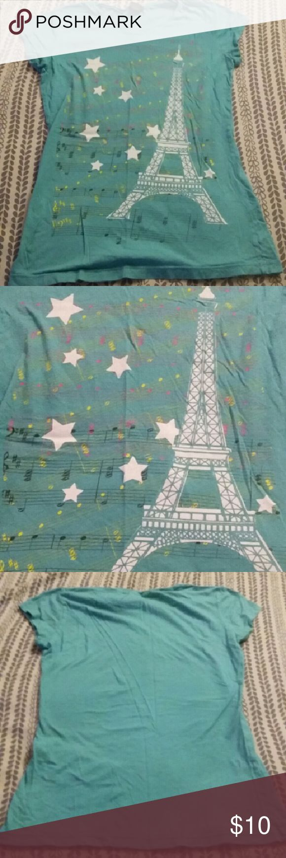 Rue 21 Paris Shirt Eiffel Tower with music scores and notes and stars Rue21 Tops Tees - Short Sleeve