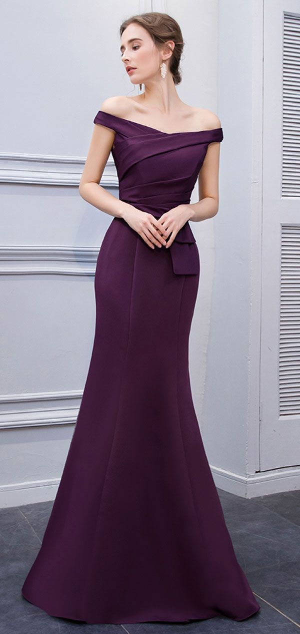 Simple Mermaid Off Shoulder Purple Satin Evening Dresses 2018 0d2a2d6d592f