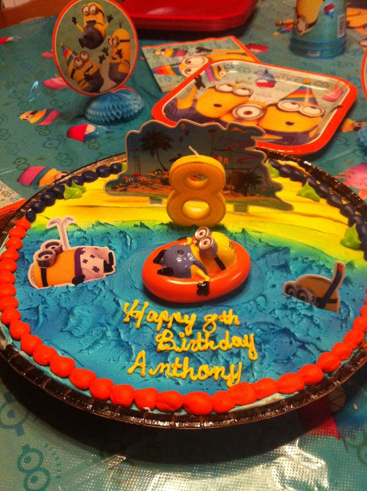 Minion cookie cake. We took the cake decoration from