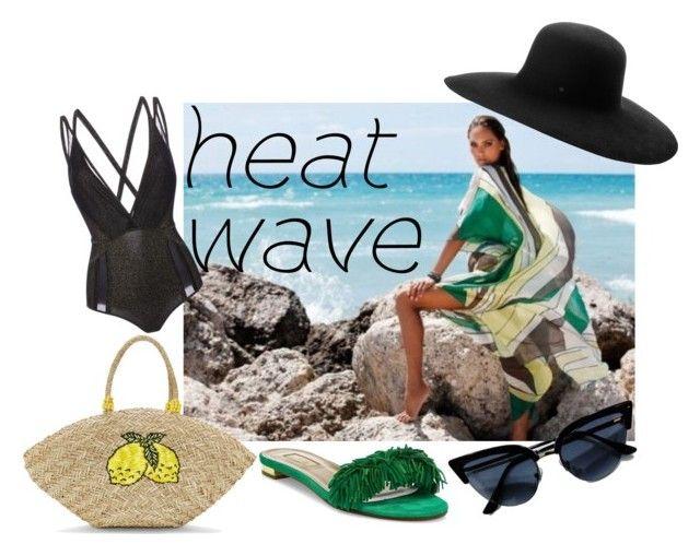 """heat wave"" by misisspoly on Polyvore featuring moda, Verde Veronica, Elie Saab, Aquazzura e Maison Michel"