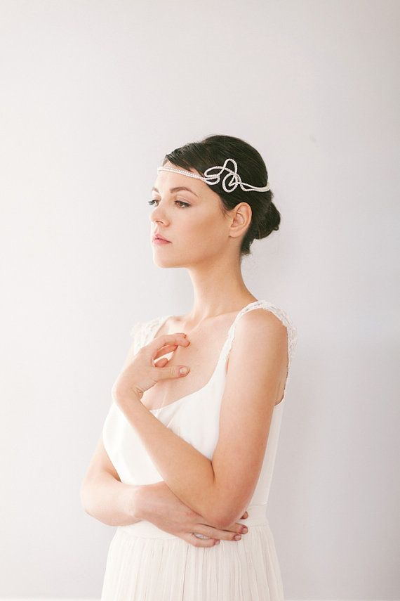 Crystal and Pearl Art Deco Bridal Headpiece, Vintage Style Bridal Halo with Pearls and Crystals #208HB Wish I could pull this off!