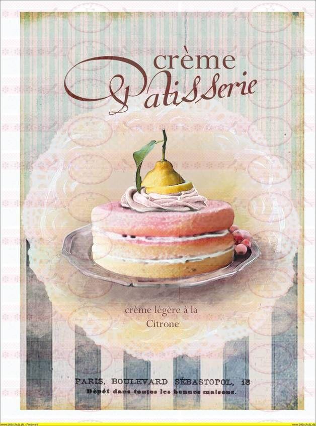 Vintage Kuchen Paris french Shabby DIN A4