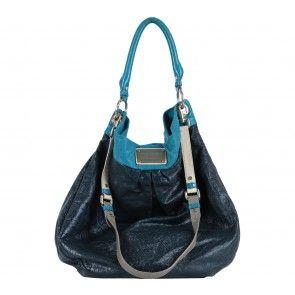 Marc Jacobs Black Blue Trim  Crunched Leather  Handbag