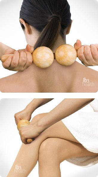 Person using marble massager on neck, then on legs