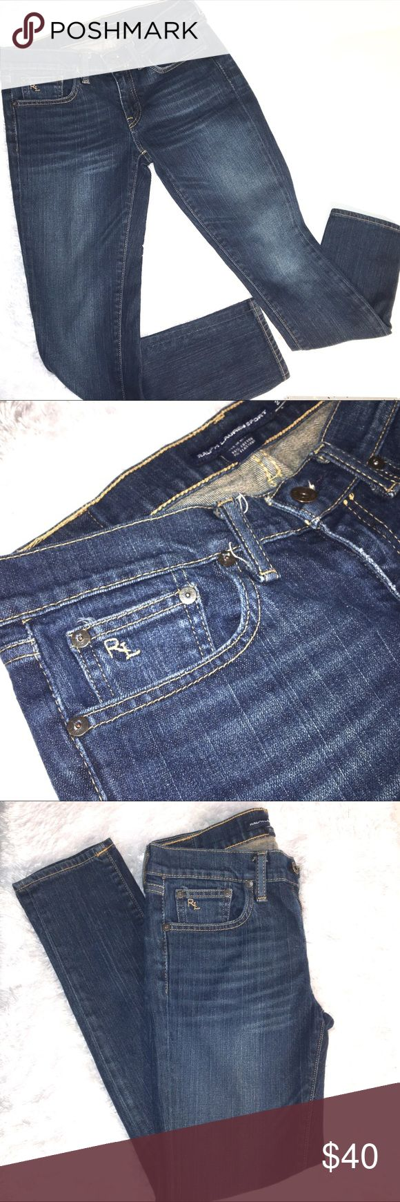 Women's Ralph Lauren Sport skinny denim jeans Women's Ralph Lauren Sport blue label denim slim skinny jeans. Size 27. Front and back pockets, dark wash, Label on front pocket & button. EUC, no damage or stains. Smoke free home. Pair with booties for fall. Wear to school, work, errands, casual or for date night. Great versatile denim Jean. #ralphlauren #sport #bluelabel #denim #jean #27 #skinny #blue ❌no trades❌ Ralph Lauren Blue Label Jeans Skinny