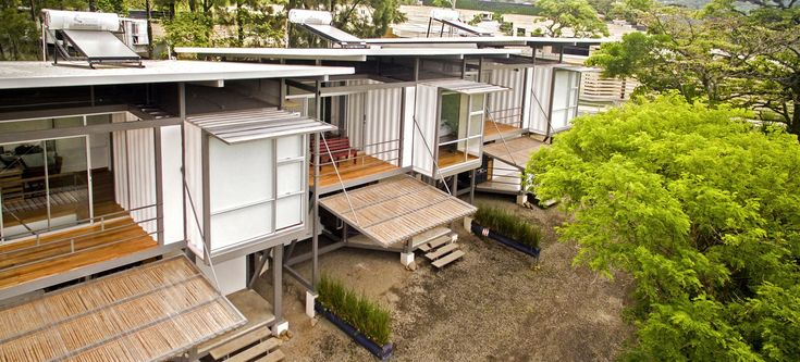 Three environmentally friendly container homes. Tagged: Exterior, House, Metal Siding Material, Metal Roof Material, Shipping Container Building Type, and Flat RoofLine.  Photo 5 of 12 in A Costa Rican Family Stays Connected in Three Shipping Container Homes
