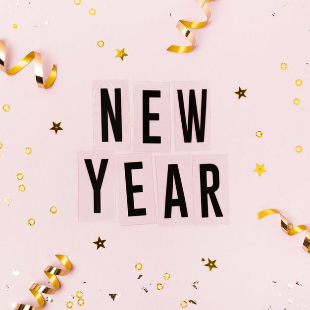 New Year Lettering On Pink Background With Golden Ribbons Newyear Happy New Year Wallpaper Happy New Year Text