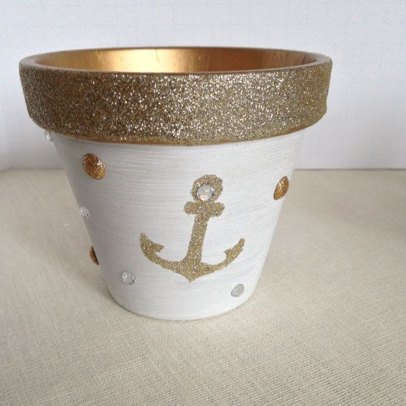 Anchor, Anchor Decor, Nautical Anchor, Anchor Decorating, Flowerpot Handpainted Anchor, Nautical Decor, Anchor Room Decor Anchor Beach Decor