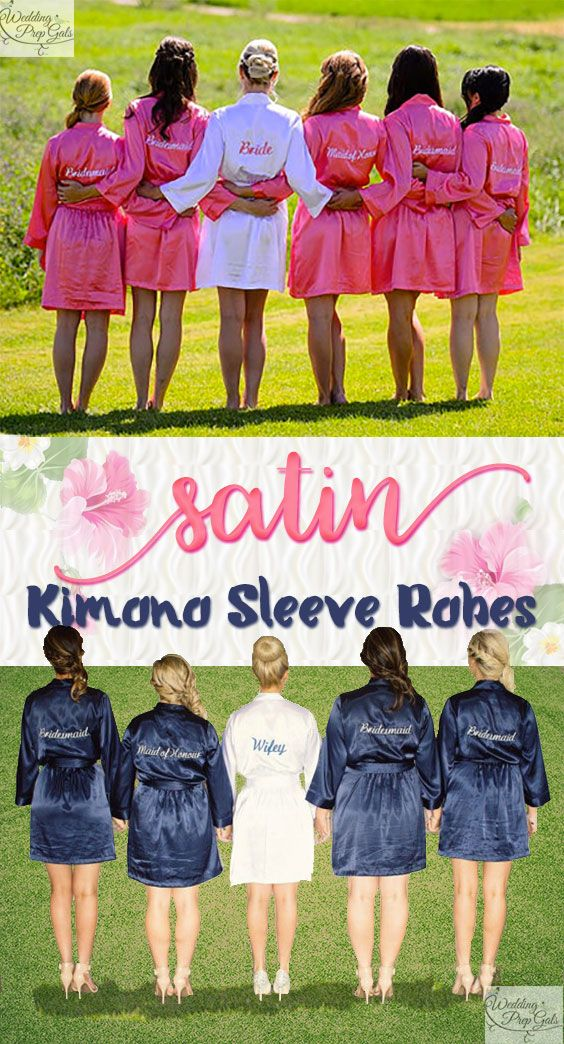 Bridesmaids gift idea: Short kimonos as bridesmaids robes. These are satin, but washable, and have nice deep pockets to put makeup or whatever in. Plus the belt is attached from the inside (hurray). Dolores embroiders the back for bride, bridesmaid, maid of honor, or mother of bride or groom. You can get them in 27 colors. The wedding women can wear them for a bachelorette party sleepover and while getting ready before the wedding.