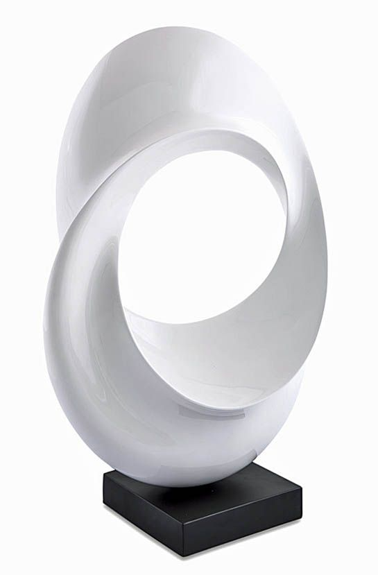 """Dream"" Contemporary Wood Sculpture, Stohans Showcase. Elegant and simplistic abstract fiber wood sculpture featuring a dramatic vertical oval form that gracefully twists within itself to create a very fluid visual design. The Dream sculpture has a pearl white lacquered finish and has been mounted on a square black lacquered base which further accentuates the sculpture design."