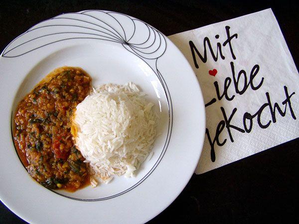 Mungbohnen-Curry mit Spinat