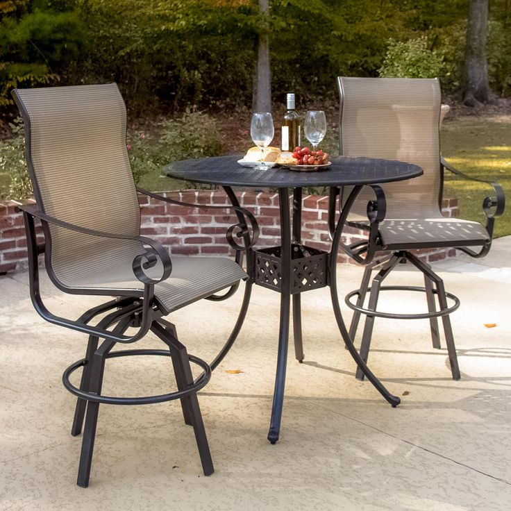 A stylish patio bar set by Lakeview. The curved, high-back seating provides enhanced support & comfort. The swivel & rocking action of the bar stools aids in relaxation. And the tan PVC coated sling is resistant to fading and mildew. Click to see more patio bar sets.