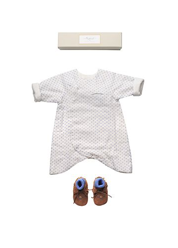 Bonpoint Summer 2015: Alouette romper suit Deep Blue printed Baby socks Lavender Tipib baby shoes Brown Socks Blue assortment