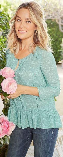 Who made  Lauren Conrad's green print shirt?