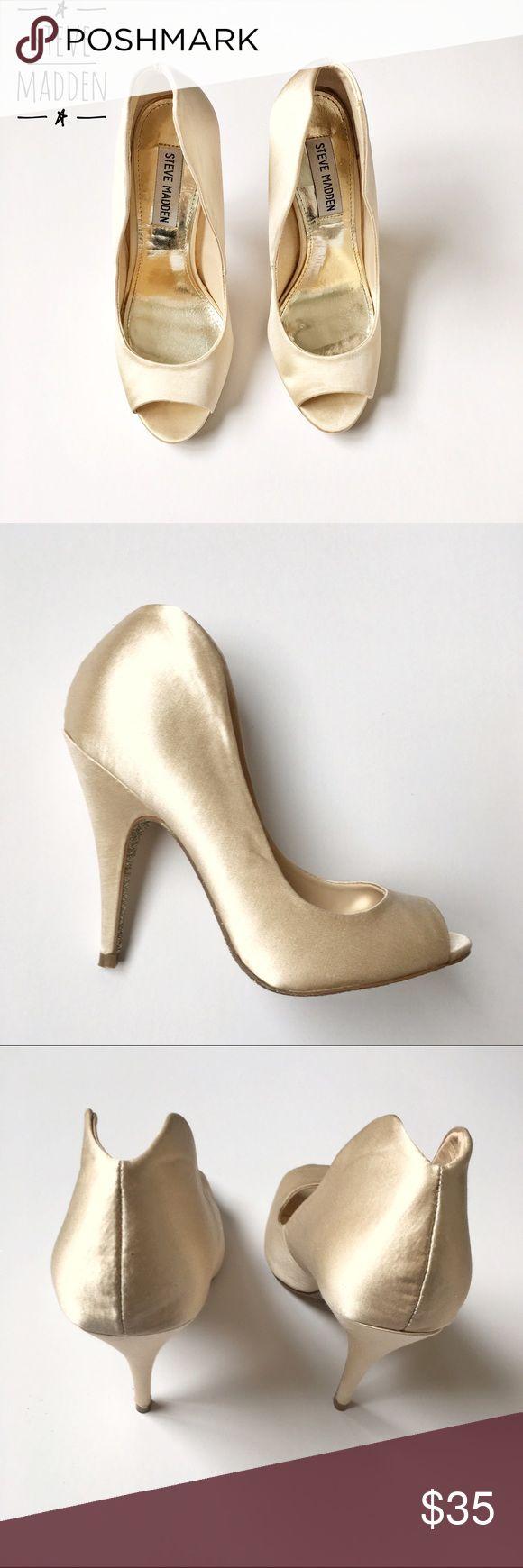 Steve Madden satin pumps Peep toe pumps . Worn only once . Cream color . Steve Madden Shoes Heels