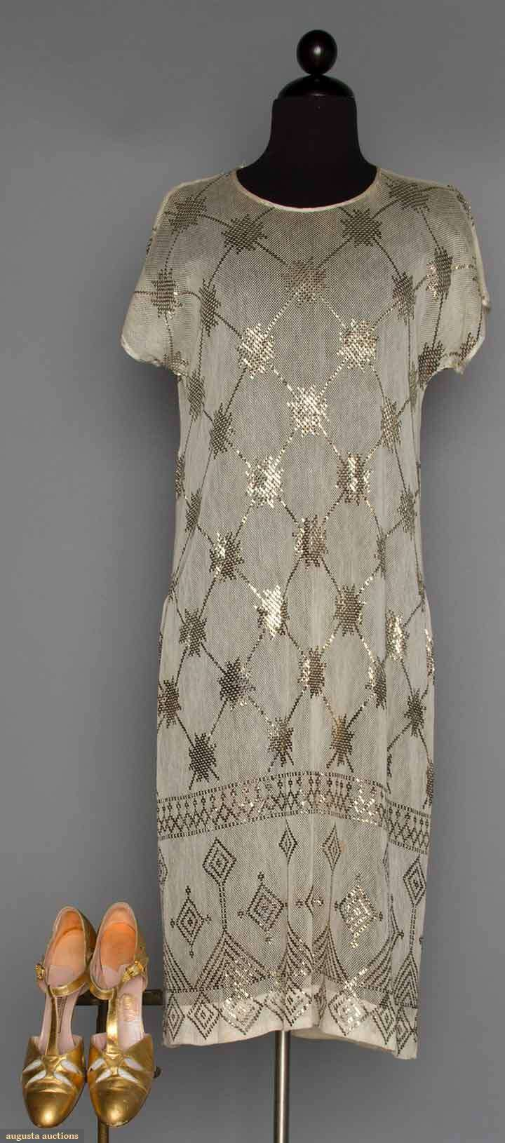1920s Dress & Gold Shoes White net, lattice patterned metal work Gold Leather T-strap evening shoes Front 1