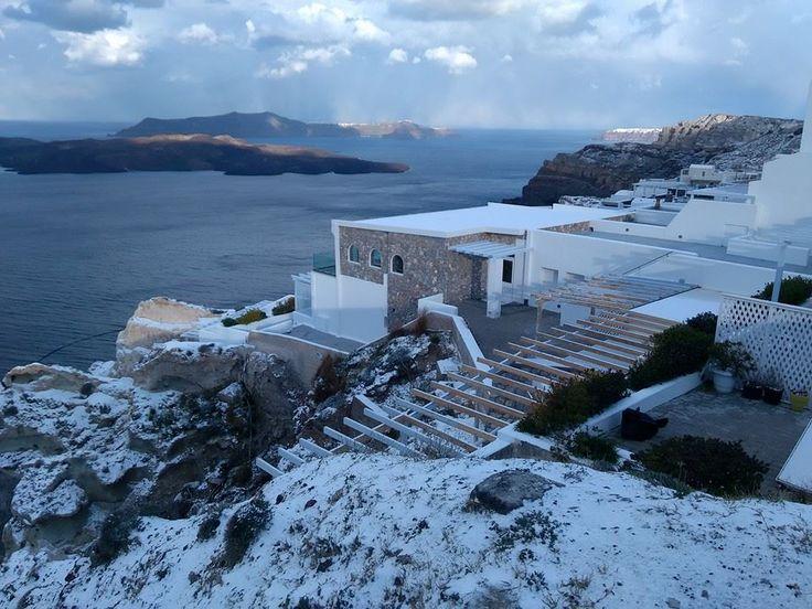 Snowy Santorini!