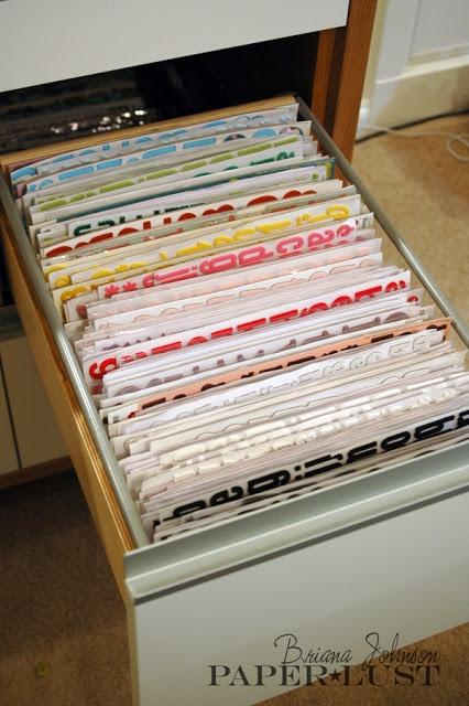 My Scrapbook Room--Sticker Storage