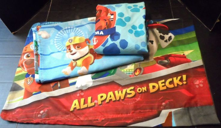 Twin Sheets Set Paw Patrol Fitted Flat Pillow Case All Paws on Deck Nickelodeon #Nickelodeon