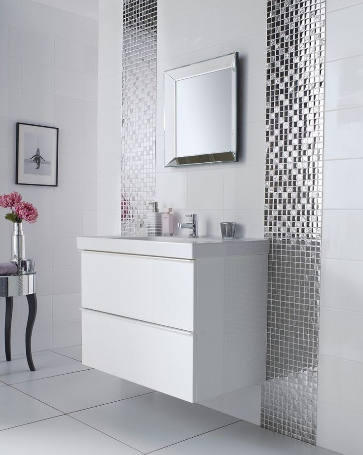 Amazing bathroom tile ideas with perfect tile pattern and great wall tiles: futuristic bathroom tile ideas with beveled mirror mosaic tiles and simply elegant bathroom drawers