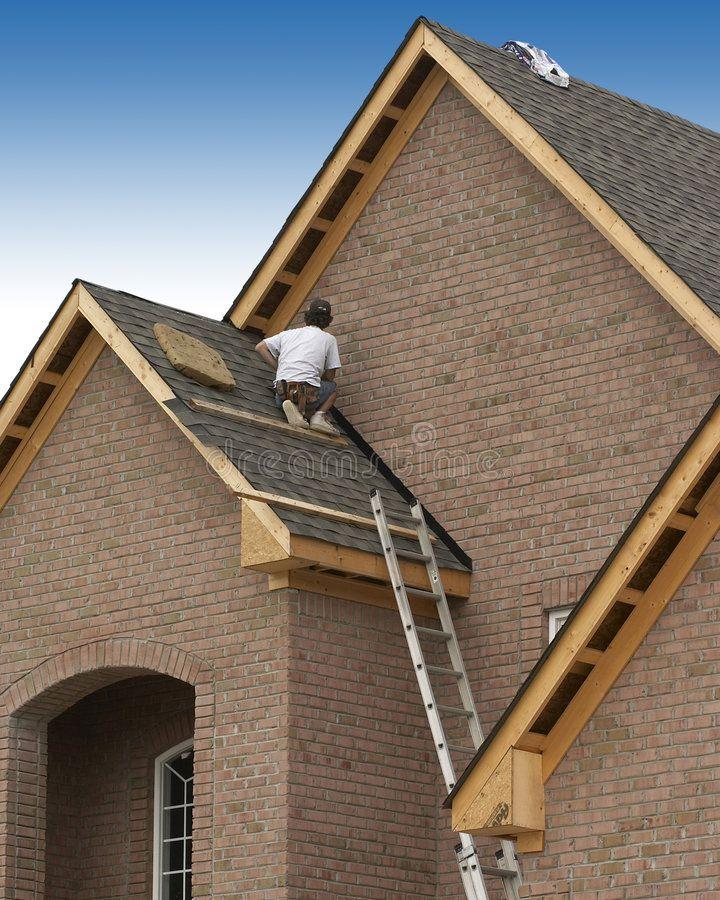 Roofer Man On Roof Working Aff Man Roofer Working Roof Ad Roofer Craftsman Stock Images
