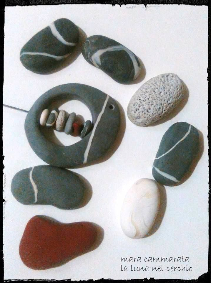 Polymer clay faux beach pebbles-jewelery components. work in progress...very funny!