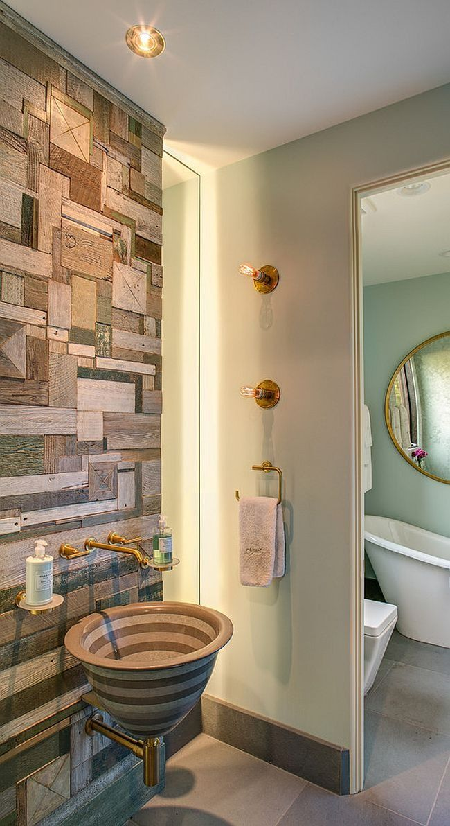 White Bathroom with Gray Wall Tile Focal Point containing