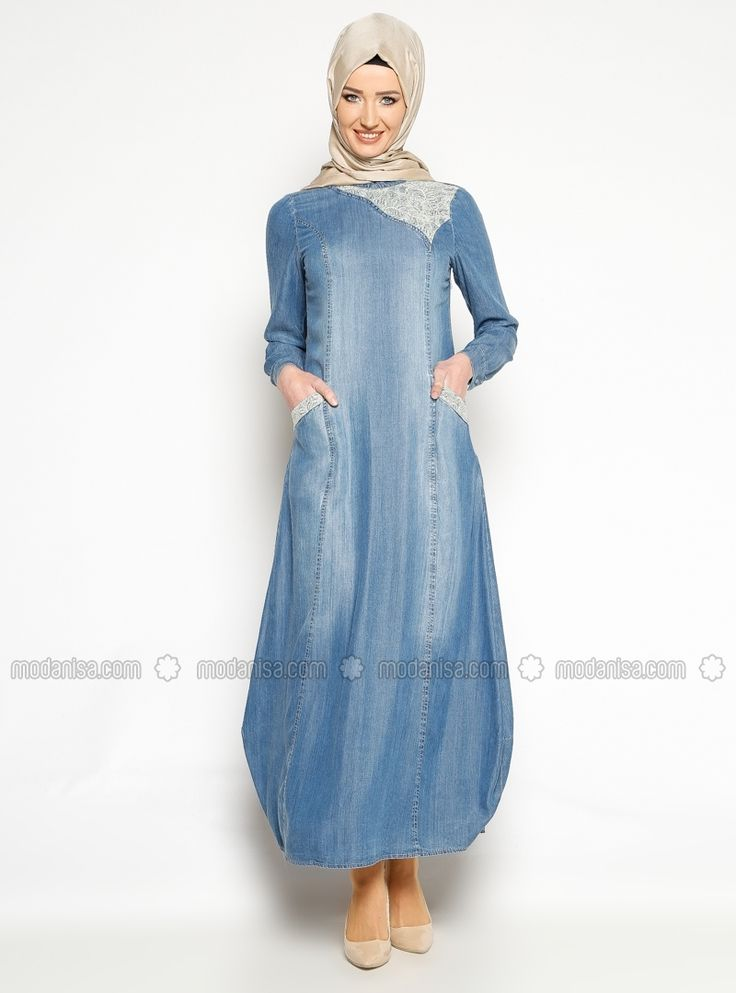 Lacy Denim Dress - Blue - Neways