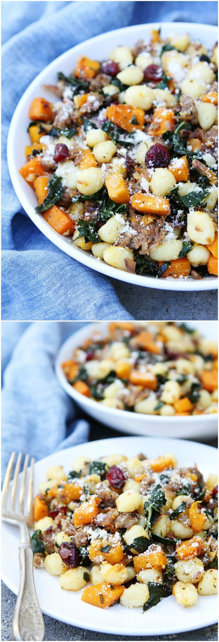 Butternut Squash, Sausage, and Kale Gnocchi Recipe on twopeasandtheirpod.com This quick and easy gnocchi dish makes a great fall meal.