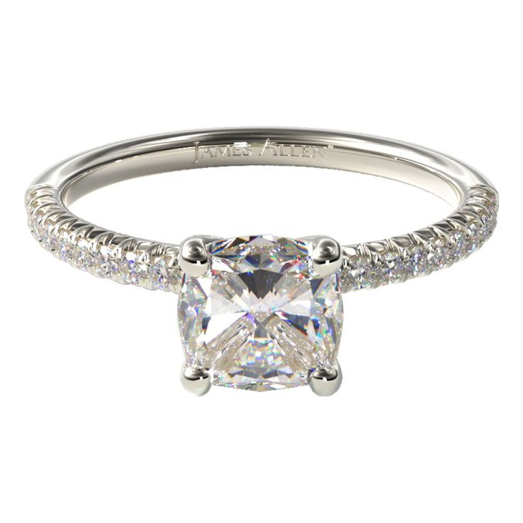 Pave Engagement Setting in White Gold - Price Excludes Center Diamond.