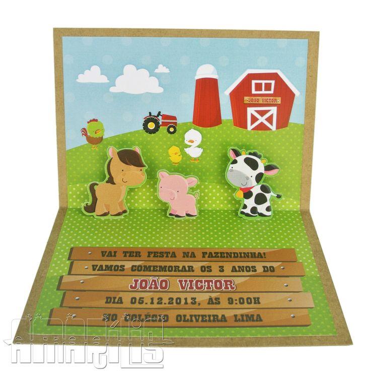 Convite de Aniversário no Tema Fazendinha <br> <br>- Confeccionados com Papel Couchê (interno) e Pardo (externo) de Alta Gramatura <br>- Cenário de Fazenda com Três Pop-ups de Bichinhos: cavalo, porco e vaca <br>- Fechamento com Fita Xadrez Verde e Sobreposição de Celeiro com Placa Personalizada <br>- Embalado em Saco Celofane e Laço Xadrez Vermelho <br> <br>Cores, dizeres e personagens podem ser alterados! <br>Feitos também em outros temas! Consulte-nos! <br> <br>Com mais R$ 0,80 por…