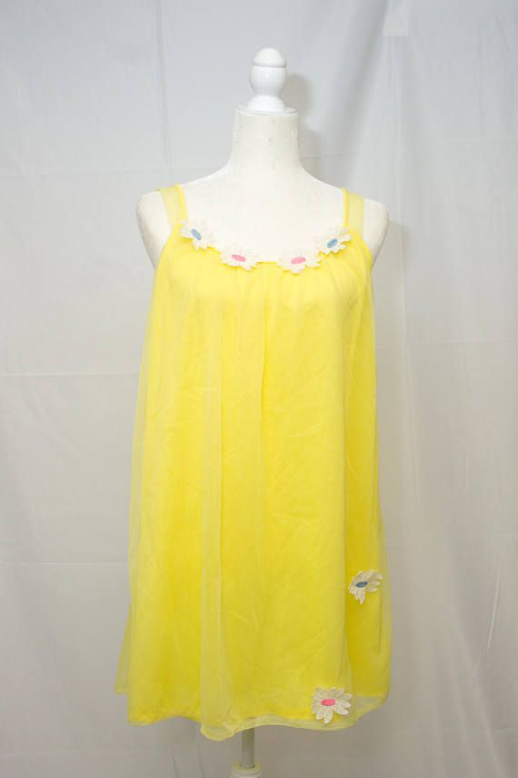 Adorable-vintage-yellow-lined-negligee or cute festival dress ? $12