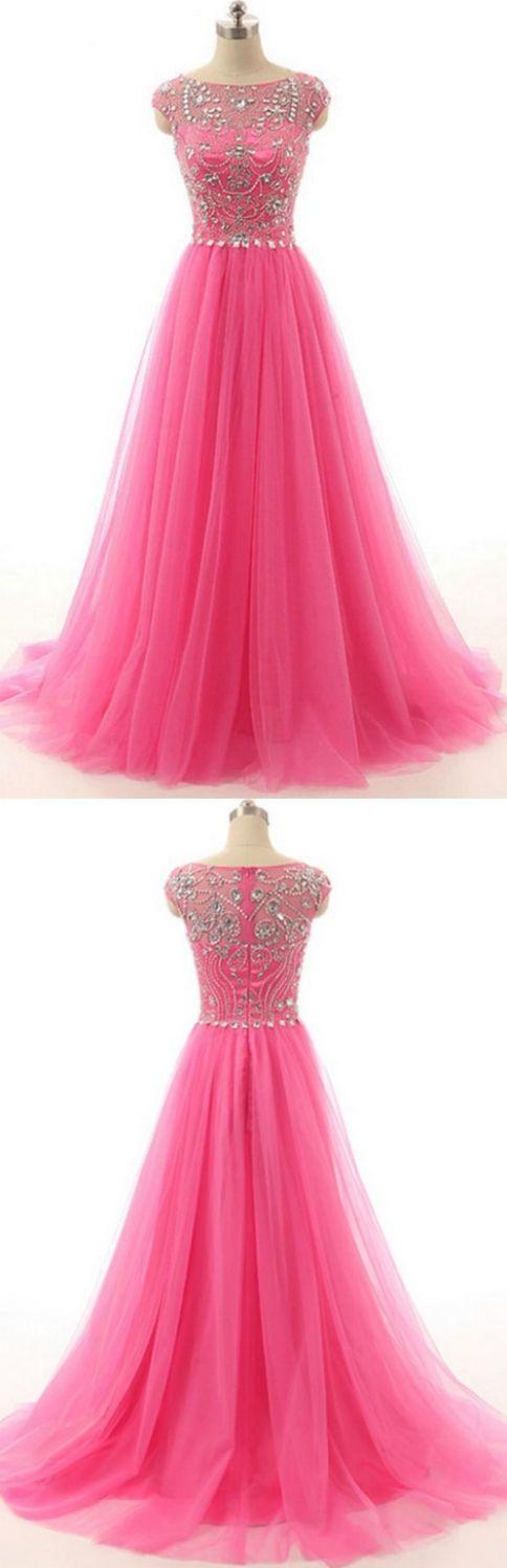 Sweep/Brush Prom Dresses, Pink Sweep/Brush Prom Dresses, Sweep/Brush Long Evening Dresses, Hot Pink Beaded Long Zipper Modest Evening Prom Dresses