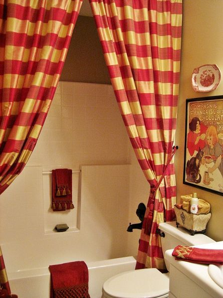 my french country guest bath, bathroom ideas, design d cor, A pair of buffalo check drapes serve as the shower curtain backed with a liner of course