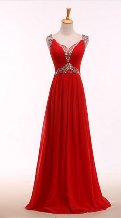 The elegant red evening dress, the crystal evening gown,