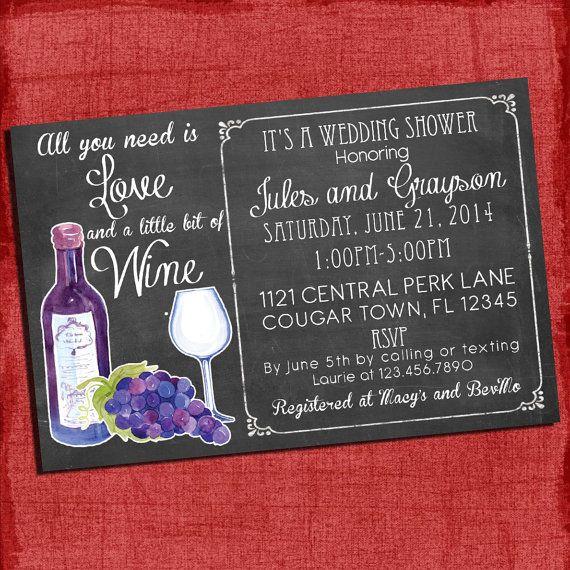 Printable Wine Theme S Coed Wedding Shower Invitation I Design You Print Bridal Pinterest Invitations