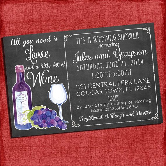 Printable Wine theme Couples/Coed Wedding Shower Invitation- I design You print on Etsy, $15.00