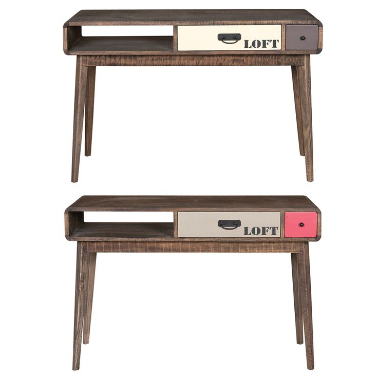 Vintage 60s Desk - Χειροποίητο γραφείο από μασίφ ξύλο μάνγκο  Διαθέτει 2 συρτάρια (με οδηγούς) και ένα ράφι Σε δύο χρώματα: - Pale version (λευκό/καφέ) - Bright version (χακί/κόκκινο)