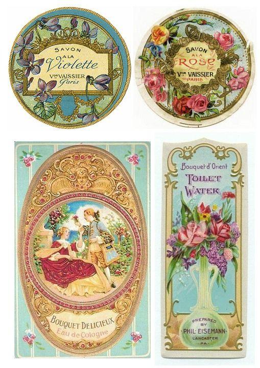 Etiketten, Vintage, Toiletartikelen, Zeep, Romantische