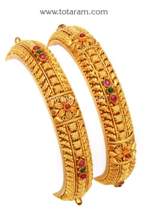 22K Gold Bangles - Set of 2 (1 Pair) (Temple Jewellery): Totaram Jewelers: Buy Indian Gold jewelry & 18K Diamond jewelry