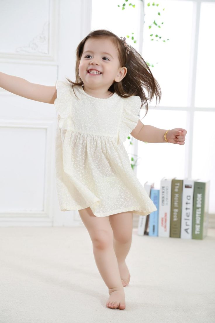 2017 New Fashion Cute Baby Girl Dress Toddler Girls Summer Wear with Printed Flowers in 100% Cotton