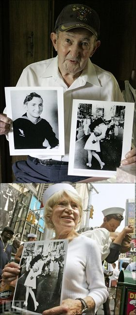 The soldier and the nurse from the D-Day kiss picture in Times Square