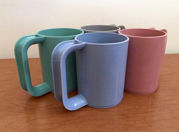Vintage Mod Pastel Plastic Mugs  Set of 4 by BoomerangModern