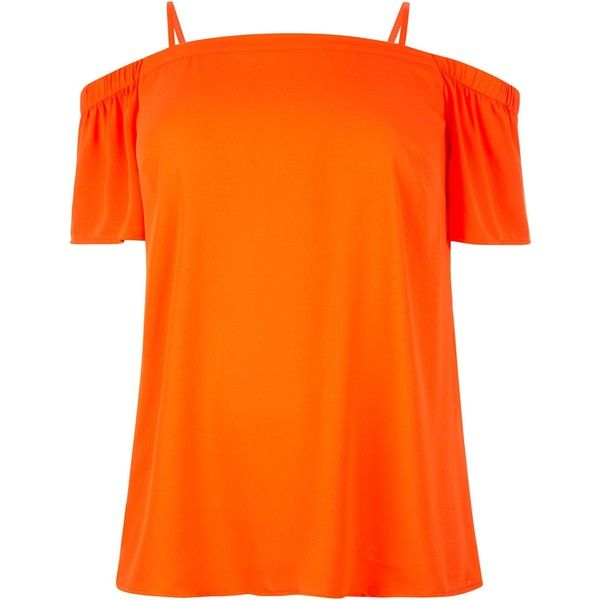 New Look Curves Orange Bardot Neck Top ($7.30) ❤ liked on Polyvore featuring tops, spicy orange, short sleeve tops, orange top, strappy top and spaghetti-strap top