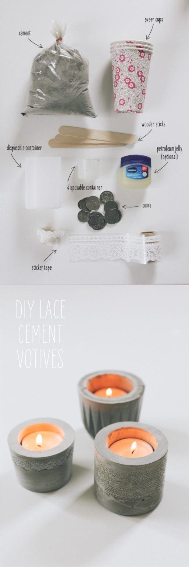 Portavelas de cemento - sayyes.com - DIY Lace Cement Votives